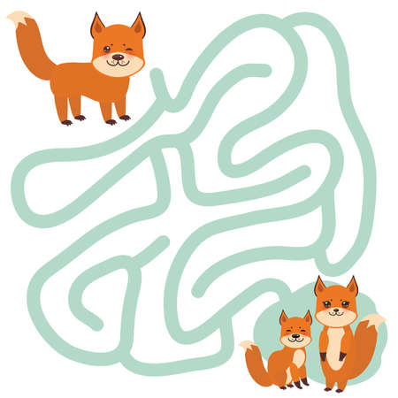 Fox family on white background  labyrinth game for Preschool Children. Vector illustration