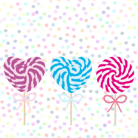 Valentines Day Heart shaped  Set candy lollipops with bow, spiral candy cane. Candy on stick with twisted design on white abstract geometric retro polka dot background. Vector illustration