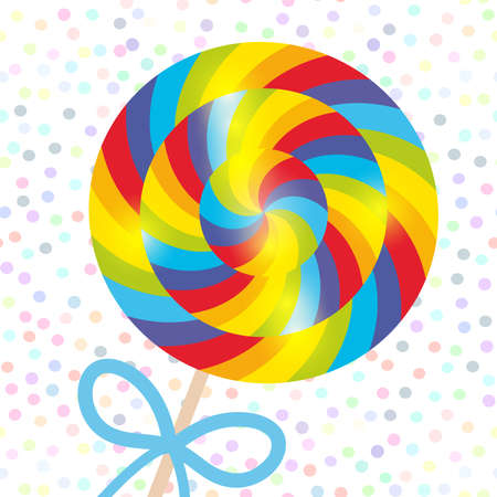 candy lollipops with bow, spiral candy cane with bright rainbow stripes. Candy on stick with twisted design on white abstract geometric retro polka dot background. Vector illustration