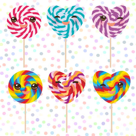 Kawaii colorful Set candy lollipops with bow, spiral candy cane. Candy on stick with twisted design with pink cheeks and winking eyes, pastel colors polka dot background. Vector illustration Illustration