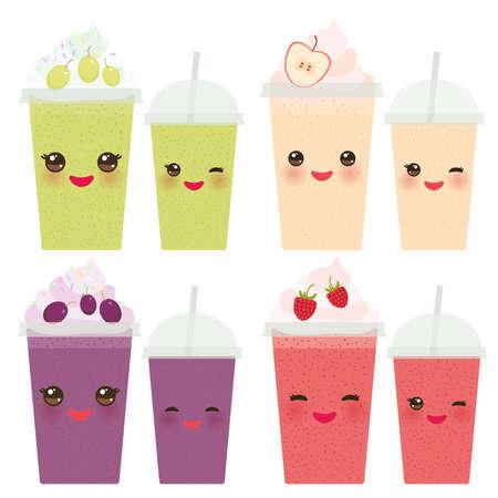 Cépages Pomme Framboise emporter smoothies tasse en plastique transparent avec de la paille et de la crème fouettée. visage mignon Kawaii avec les yeux et le sourire isolé sur fond blanc. Vector illustration