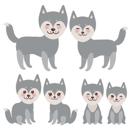 alaskan: Set kawaii funny gray husky dog, face with large eyes and pink cheeks, boy and girl isolated on white background. Vector illustration