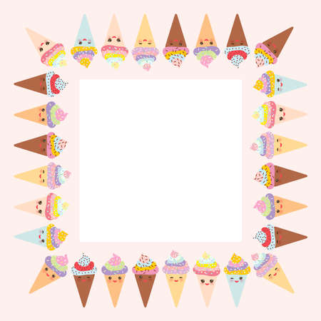 Card design for your text, banner template with square frame, Kawaii funny Ice cream waffle cone, muzzle with pink cheeks and winking eyes, pastel colors on white background. Vector illustration
