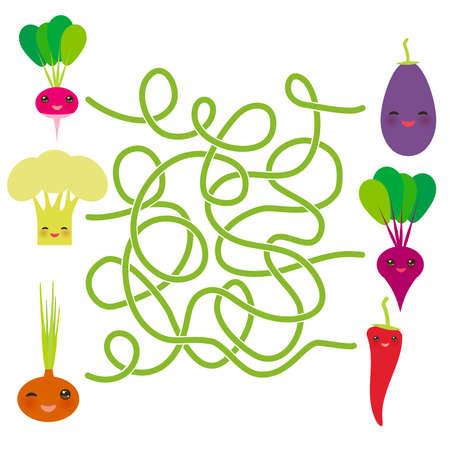 Kawaii vegetables on white background Radishes Cauliflower Onions Beet Eggplant Chile. labyrinth game for Preschool Children. Vector illustration Illustration