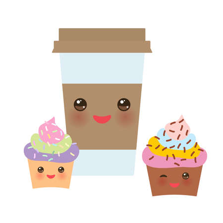 Take-out coffee in Paper thermo coffee cup with brown cap and cup holder, chocolate cupcake. Kawaii cute face with eyes and smile  Isolated on white background. Vector illustration