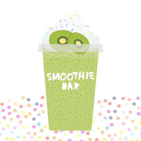 card design smoothie bar kiwi Take-out smoothie transparent plastic cup with whipped cream. Isolated on white background. Vector illustration