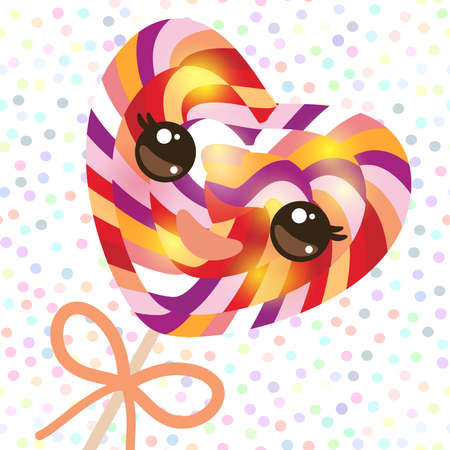 Kawaii colorful candy lollipop with bow, spiral candy cane. Candy on stick with twisted design with pink cheeks and winking eyes, pastel colors polka dot background. Vector illustration