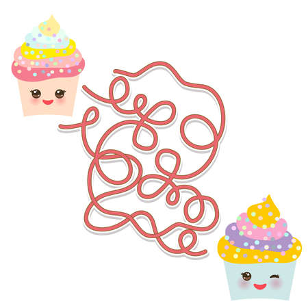 Cupcake Kawaii funny muzzle with pink cheeks, winking eyes on white background. labyrinth game for Preschool Children. Vector illustration