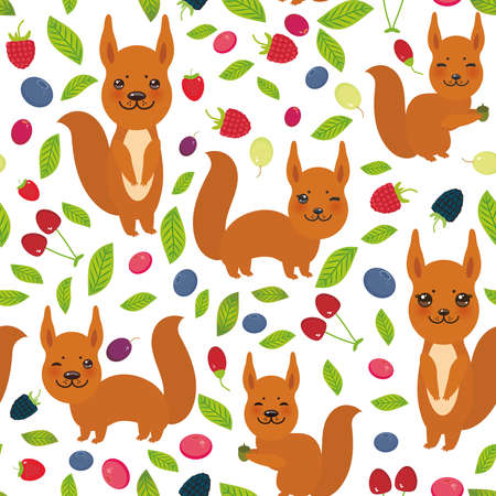 whortleberry: seamless pattern with red squirrel, Cherry Strawberry Raspberry Blackberry Blueberry Cranberry Cowberry Goji Grape isolated on white background. Vector illustration