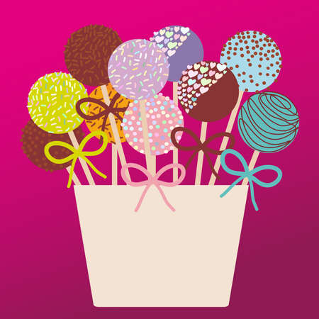 Colorful Sweet Cake pops set with bow in a pink bucket  on dark pink background. Vector illustration