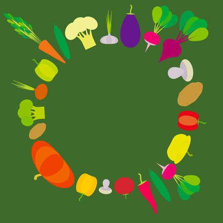 Set of vegetables bell peppers, pumpkin, beets, carrots, eggplant, red hot peppers, cauliflower, broccoli, potatoes, mushrooms, cucumber, onion, garlic, tomato, radish on green background. Vector illustration Illustration