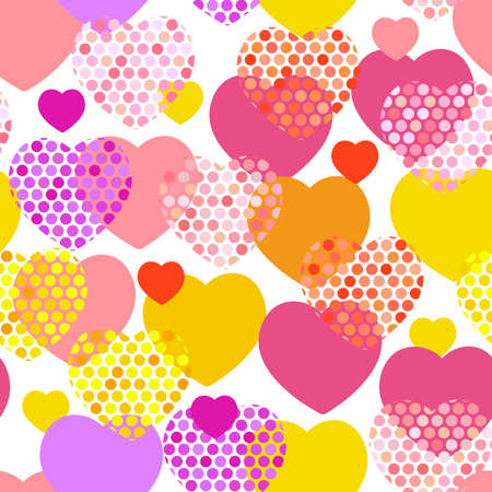 pink orange lilac red yellow heart with polka dot heart seamless pattern on white background. Vector illustration