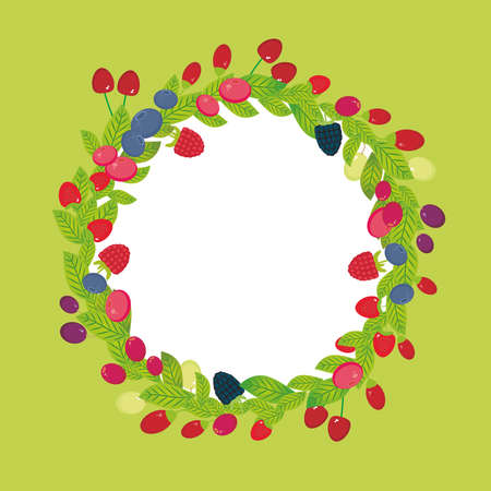 whortleberry: Round wreath with Cherry Strawberry Raspberry Blackberry Blueberry Cranberry Cowberry Goji Grape  Fresh juicy berries on green background. Vector illustration Illustration