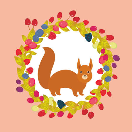 whortleberry: Round wreath with red squirrel, Cherry Strawberry Raspberry Blackberry Blueberry Cranberry Cowberry Goji Grape on pink background. Vector illustration Illustration
