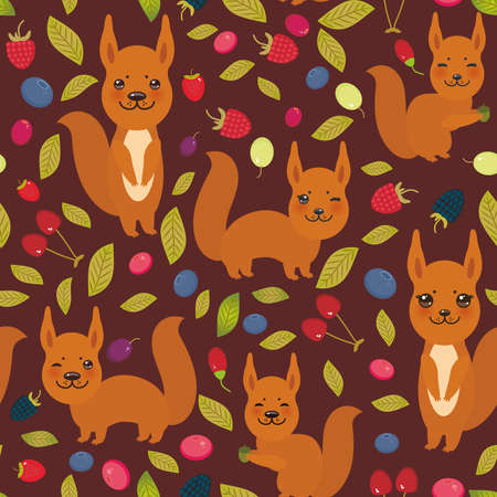 bramble: seamless pattern with red squirrel, Cherry Strawberry Raspberry Blackberry Blueberry Cranberry Cowberry Goji Grape  on dark vinous background. Vector illustration