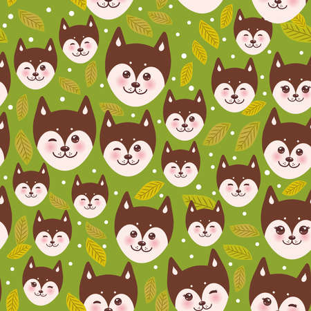 alaskan malamute: seamless pattern funny brown husky dog and leaves, Kawaii face with large eyes and pink cheeks, boy and girl on green background. Vector illustration Illustration