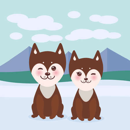 Kawaii funny brown husky dog, face with large eyes and pink cheeks, boy and girl, mountain landscape background. Vector illustration