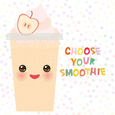 plastic straw: Choose your smoothies. card design Takeout apple smoothie transparent plastic cup with straw and whipped cream. Isolated on white background. Vector illustration