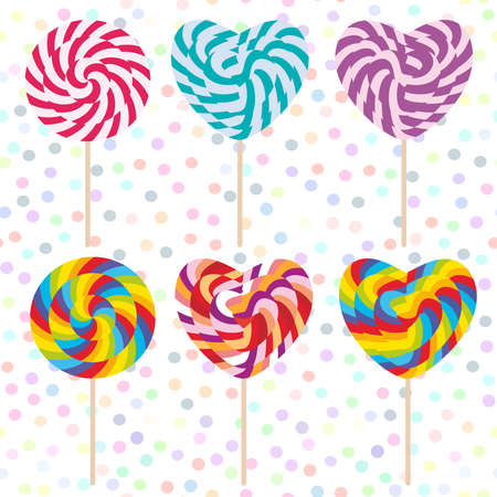colorful Set candy lollipops, spiral candy cane. Candy on stick with twisted design on white abstract geometric retro polka dot background. Vector illustration Illustration
