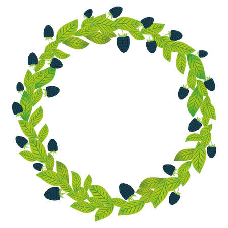 Round wreath with green leaves and blackberry Fresh juicy berries isolated on white background. Vector illustration Illustration