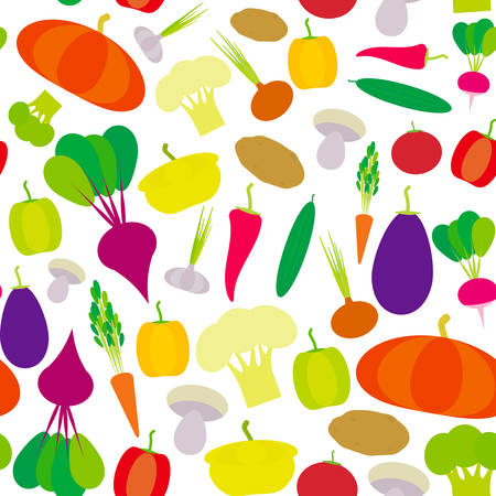 Seamless pattern vegetables bell peppers, pumpkin, beets, carrots, eggplant, red hot peppers, cauliflower, broccoli, potatoes, mushrooms, cucumber, onion, garlic, tomato, radish on white. Vector illustration Illustration