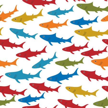 blue and green: Seamless pattern with orange red blue green sharks Isolated on white background. Vector illustration Illustration