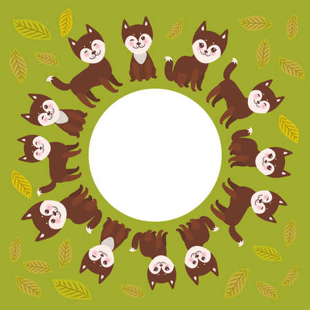 round frame for your text, funny brown husky dog and leaves, Kawaii face with large eyes and pink cheeks, boy and girl on green background. Vector illustration Illustration