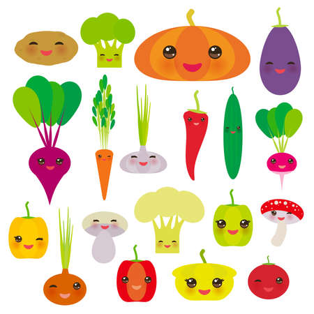 Kawaii vegetables bell peppers, pumpkin beets carrots, eggplant, red hot peppers, cauliflower, broccoli, potatoes, mushrooms, cucumber, onion, garlic, tomato, radish green background. Vector illustration