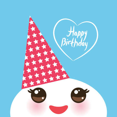 cheek: Happy birthday, Kawaii funny white muzzle with pink cheeks and eyes in the red cap on light blue background. Vector illustration