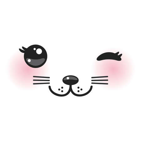 Kawaii funny cat muzzle with pink cheeks and winking eyes on white background. Vector illustration Illustration
