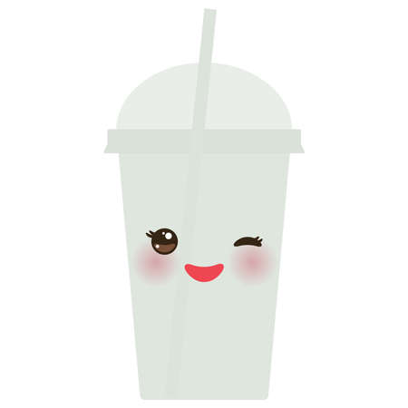 plastic straw: Take-out smoothie transparent plastic cup with straw and whipped cream. Kawaii cute face with eyes and smile  Isolated on white background. Vector illustration