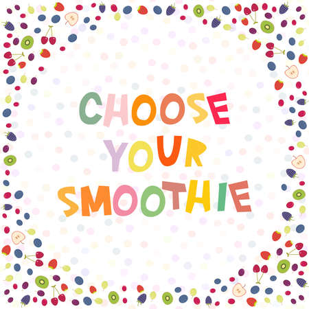 cowberry: Choose your smoothies. Cherry Strawberry Raspberry Blackberry Blueberry Cranberry Cowberry Grape isolated on white background. Round frame for your text. card design. Vector illustration