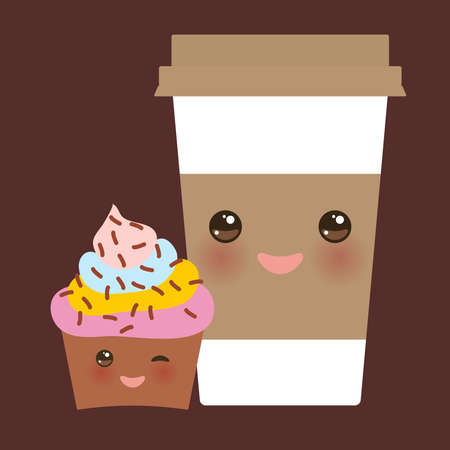 Take-out coffee in Paper thermo coffee cup with brown cap and cup holder, chocolate cupcake. Kawaii cute face with eyes and smile on dark brown background. Vector illustration Illustration