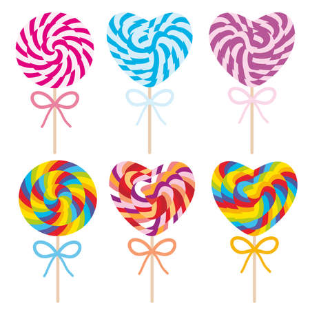 colorful Set candy lollipops with bow, spiral candy cane. Candy on stick with twisted design on white background. Vector illustration