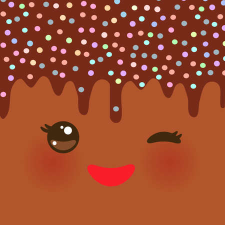 glazed: Dripping Melted chocolate Glaze with sprinkles. Kawaii cute face with eyes and smile. Brown background for your text. Vector illustration