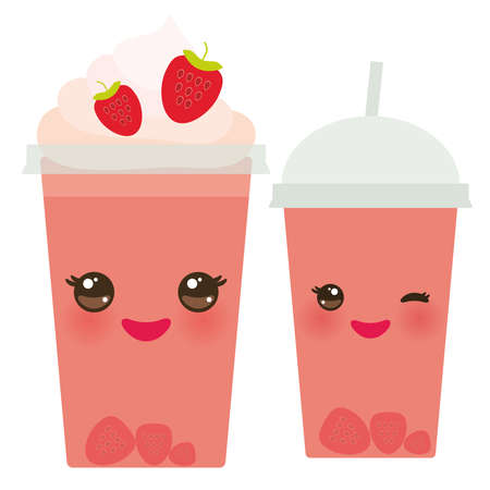 plastic straw: Strawberry Take-out smoothie transparent plastic cup with straw and whipped cream. Kawaii cute face with eyes and smile  Isolated on white background. Vector illustration Illustration