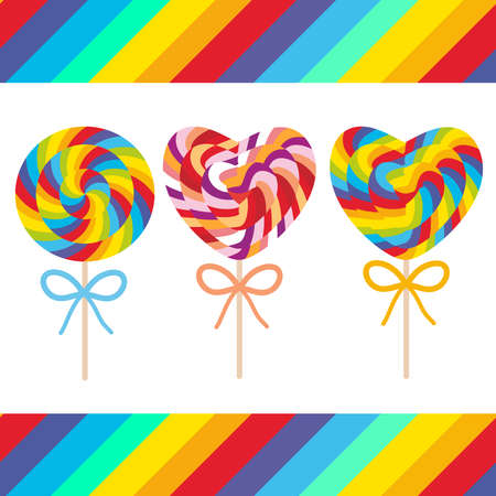 Set candy lollipops with bow, colorful spiral candy cane. Candy on stick with twisted design on white background with bright rainbow stripes. Vector illustration Illustration