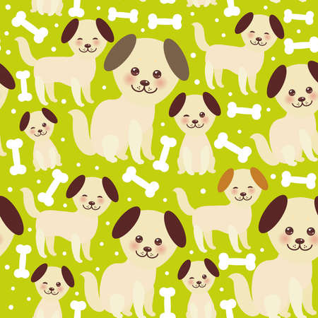 seamless pattern funny golden beige dog and white bones, Kawaii face with large eyes and pink cheeks, brown ears, boy and girl on green background. Vector illustration