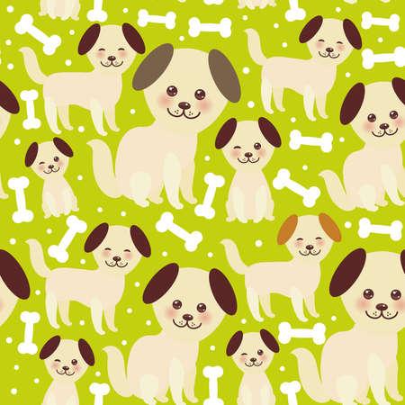 seamless pattern divertente cane beige dorato e ossa bianche, faccia kawaii con grandi occhi e guance rosa, orecchie marroni, ragazzo e ragazza su sfondo verde. Illustrazione vettoriale