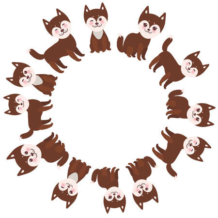 alaskan malamute: round frame for your text,  funny brown husky dog, Kawaii face with large eyes and pink cheeks, boy and girl  isolated on white background. Vector illustration