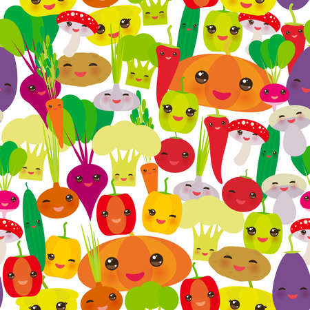 Seamless pattern Kawaii bell peppers, pumpkin beets carrots, eggplant, red hot peppers, cauliflower, broccoli, potatoes, mushrooms, cucumber, onion, garlic, tomato, radish white background. Vector illustration