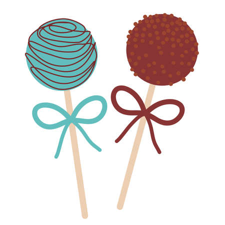 blue and brown Sweet chocolate Cake pops set with bow isolated on white background. Vector illustration Illustration
