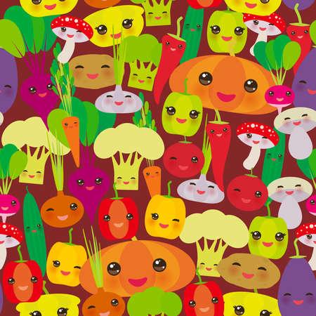 Seamless pattern Kawaii bell peppers, pumpkin beets carrots, eggplant, red hot peppers, cauliflower, broccoli, potatoes, mushrooms, cucumber, onion, garlic, tomato, radish brown background. Vector illustration