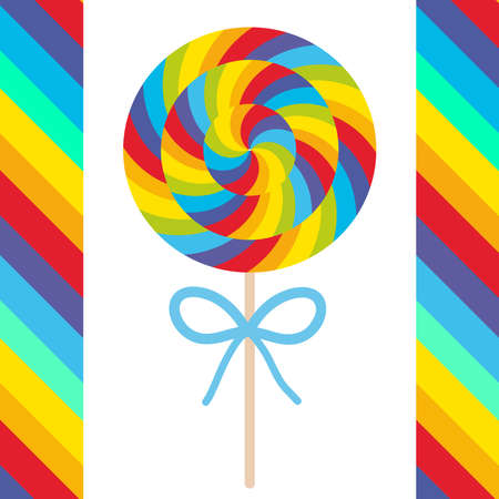 candy lollipops with bow, colorful spiral candy cane. Candy on stick with twisted design on white background with bright rainbow stripes. Vector illustration