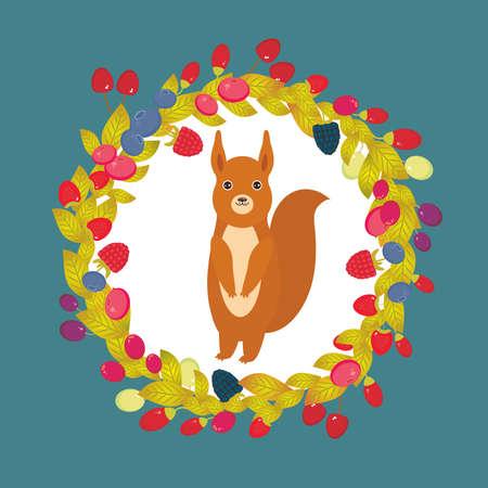 Round wreath with red squirrel, Cherry Strawberry Raspberry Blackberry Blueberry Cranberry Cowberry Goji Grape on dark blue background. Vector illustration Illustration