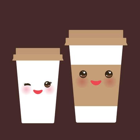 Take-out Kaffee in Papierthermokaffeetasse mit brauner Kappe und Becherhalter. Kawaii niedliches Gesicht mit Augen und Lächeln auf dunkelbraunem Hintergrund. Vektor-Illustration
