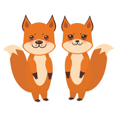 set of cute fox, boy and girl with funny face and big eyes and fluffy tails isolated on white background. Vector illustration