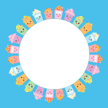 Round frame for your text. Funny happy house set, kawaii face, smile, pink cheeks, big eyes. pastel colors on blue background. Vector illustration Illustration