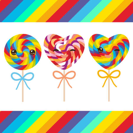 Kawaii Valentines Day Heart shaped candy lollipops with bow, colorful spiral candy cane with bright rainbow stripes. on stick with twisted design on white background with rainbow stripes. Vector illustration