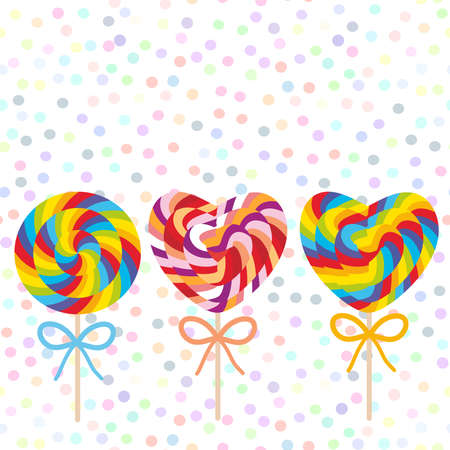Valentines Day Heart shaped colorful Set candy lollipops with bow, spiral candy cane. Candy on stick with twisted design on white abstract geometric retro polka dot background. Vector illustration Illustration